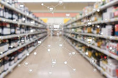 Franchise Distribution network Shop Retail Business Financial concept. Blurred supermarket background. Stock Photo