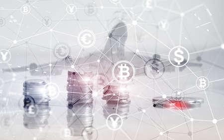 Bitcoin Euro Dollar Finance Web Money concept. Ñoins on virtual screen double exposure. Imagens