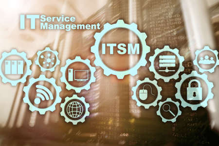 �ITSM. IT Service Management. Concept for information technology service management on supercomputer background.