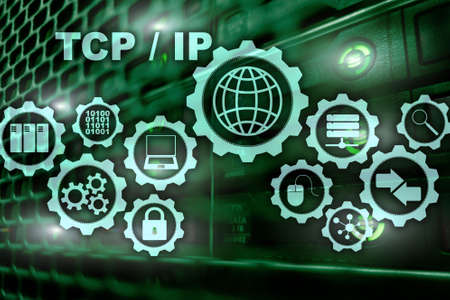 Tcp/ip networking. Transmission Control Protocol. Internet Technology concept.