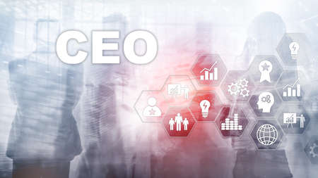 CEO business concept. Chief Executive Officer. Financial background mixed media.