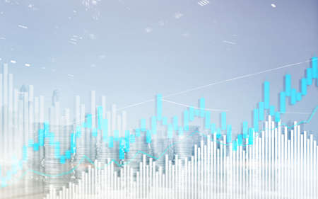 Stock trading candlestick chart and diagrams. Abstract double exposure finance background.