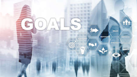 Target Goals Expectations Achievement Graphic Concept. Business development to success and growing growth. Stockfoto