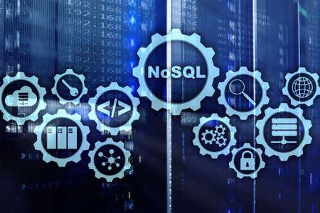 NoSQL. Lenguaje de consulta estructurado. Concepto de tecnología de base de datos. Fondo de la sala de servidores.