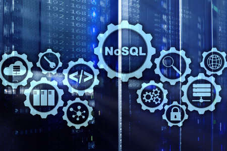 NoSQL. Structured Query Language. Database Technology Concept. Server room background. 免版税图像