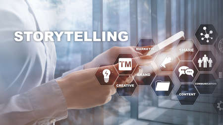 Raconter des histoires. Concept d'entreprise financière racontant une histoire. Arrière-plan flou abstrait.
