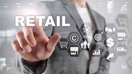 Retail Technology Communication Shopping Virtual Screen Concept. Marketing Data management. Futuristic Online shopping. Abstract Background.