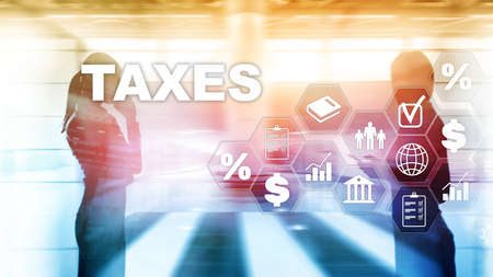 Concept of taxes paid by individuals and corporations such as vat, income and wealth tax. Tax payment. State taxes. Calculation tax return. Archivio Fotografico