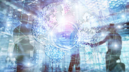 3D earth hologram, Globe, WWW, Global Business and Telecommunication. Stok Fotoğraf - 120982752
