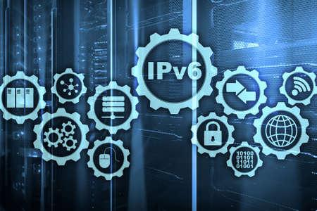 IPv6 Internet Protocol on server room background. Business Technology Internet and network concept. Foto de archivo