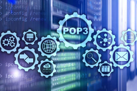 POP3. Post Office Protocol Version 3. Standard internet protocol on datacenter background.