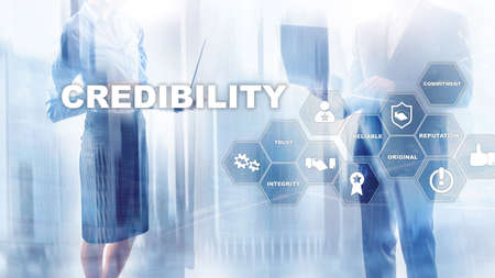 Corporate credibility improvement concept. Multiple exposure, mixed media background.