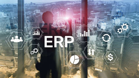 ERP system, Enterprise resource planning on blurred background. Business automation and innovation concept.