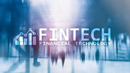 FINTECH - Financial technology, global business and information Internet communication technology. Skyscrapers background. Hi-tech business concept. Stock Photo - 121239449