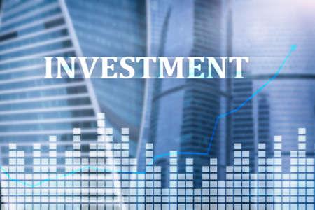 Investment, ROI, financial market concept. City megapolis data Stock Photo