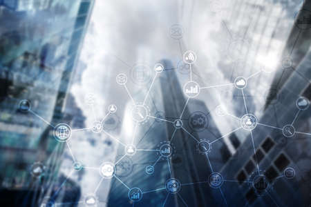 Double exposure Business organization structure on blurred background.
