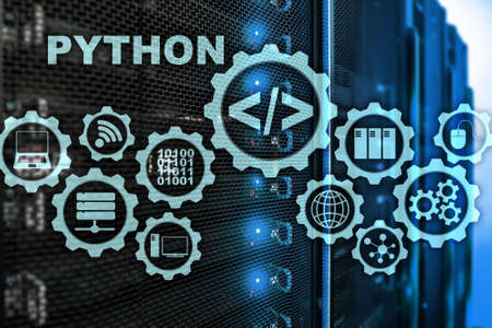 Python Programming Language on server room background. Programing workflow abstract algorithm concept on virtual screen.