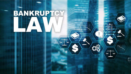Bankruptcy law concept. Insolvency law. Judicial decision lawyer business concept. Mixed media financial background
