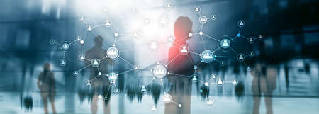 Concept de gestion des ressources humaines RH structure d'organisation de l'entreprise écran virtuel à double exposition de médias mixtes. Bannière Panorama du site Web.