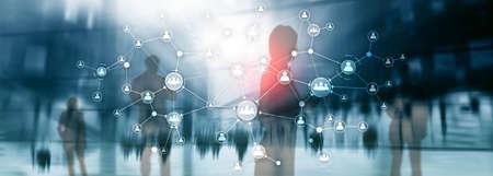 Concetto di gestione delle risorse umane delle risorse umane struttura organizzativa aziendale schermo virtuale a doppia esposizione multimediale. Banner panoramico del sito web.