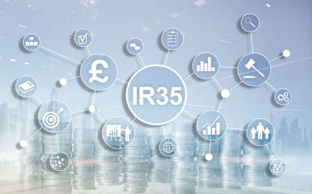 IR35 finance concept. United Kingdom tax law, tax avoidance. Banque d'images - 121694652