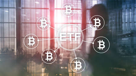 Bitcoin ETF cryptocurrency trading and investment concept on double exposure background