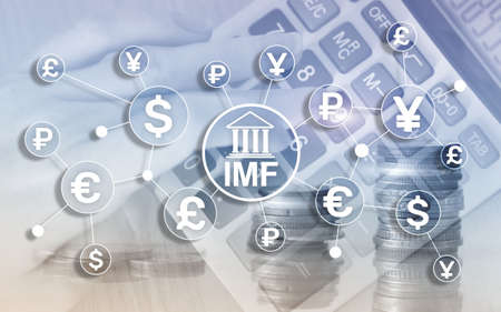 IMF International monetary fund global bank organisation. Business concept on blurred background.