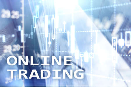 Online trading, FOREX, Investment concept on blurred business center background