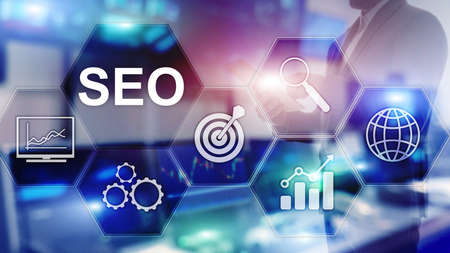 SEO - Search engine optimization, Digital marketing and internet technology concept on blurred background