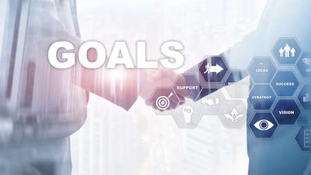 Target Goals Expectations Achievement Graphic Concept. Business development to success and growing growth. Stock Photo