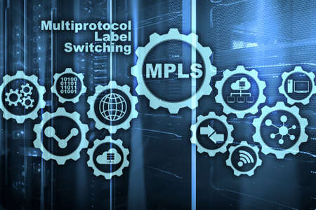 MPLS. Multiprotocol Label Switching. Routing Telecommunications Networks Concept on virtual screen.