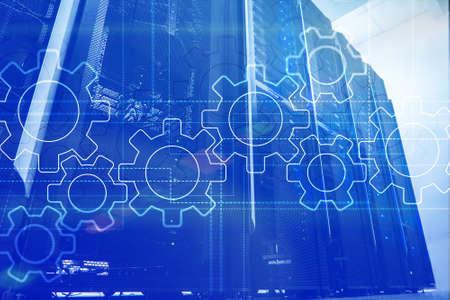 Gears mechanism, digital transformation, data integration and digital technology concept.