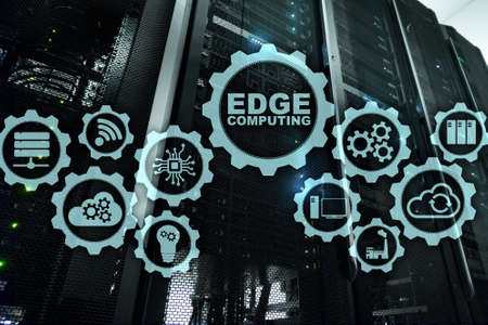 EDGE COMPUTING on modern server room background. Information technology and business concept for resource intensive distributed computing services. Stock Photo