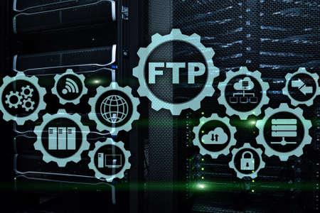 FTP. File Transfer Protocol. Network Transfer data to server on supercomputer background. Stok Fotoğraf