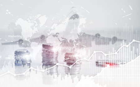 World wide map on abstract business background, coins and calculator double exposure graph, chart and diagram