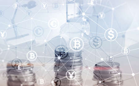 Bitcoin Euro Dollar Finance Web Money concept. oins on virtual screen double exposure Stock Photo