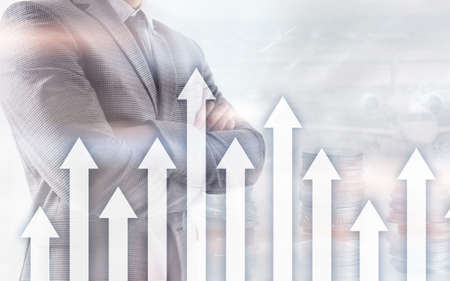 Growth up arrows on futuristic abstract background. Investing or savings to growth up money or business concept. Imagens