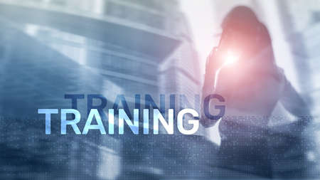 Business training concept. Training Webinar E-learning. Financial technology and communication concept