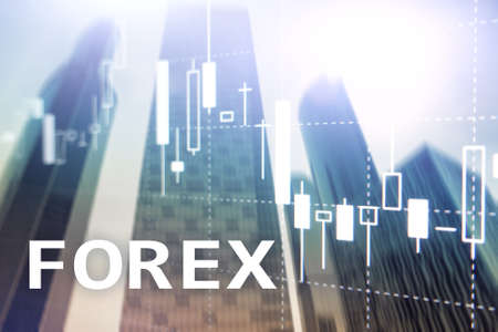 Forex trading, financial candle chart and graphs on blurred business center background