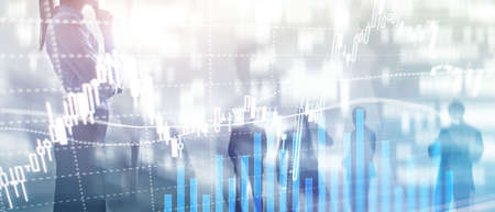 Forex trading, Financial market, Investment concept on business center background. Banco de Imagens