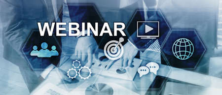 Webinar, Personal development and e-learning concept on blurred abstract background