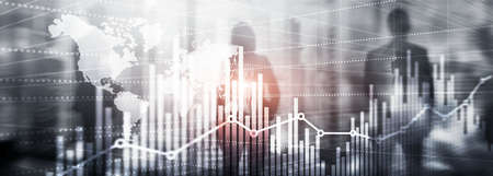 Universal Abstract background. Silhouettes of Business People. Economic growth graph chart. Double exposure mixed media.