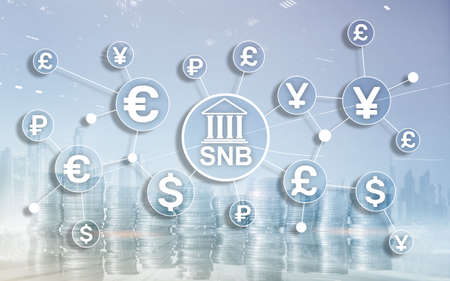 Different currencies on a virtual screen. SNB. Swiss National Bank.