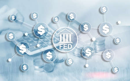 FED federal reserve system usa banking financial system business concept. Stockfoto