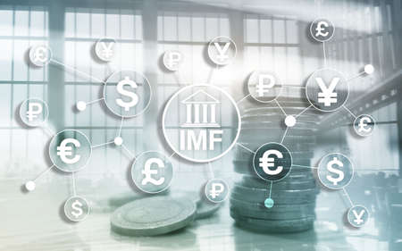IMF International monetary fund global bank organisation. Business concept on blurred background. Reklamní fotografie