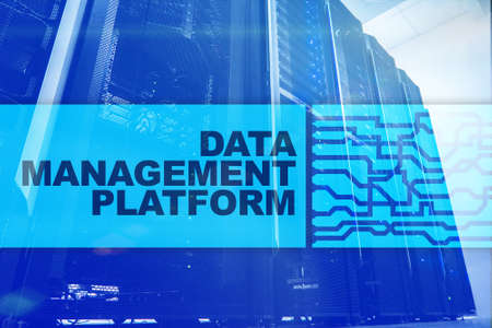 Data management and analysis platform concept on server room background. Stock Photo
