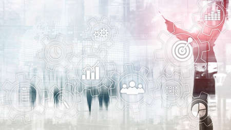Business process automation concept. Gears and icons on abstract background