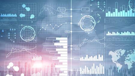 Business intelligence. Diagram, Graph,Stock Trading, Investment dashboard, transparent blurred background. 版權商用圖片
