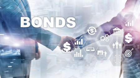 Bond Finance Banking Technology Business-Konzept. Marktnetzwerk für den elektronischen Online-Handel.