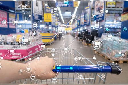 Franchise Distribution network Shop Retail Business Financial concept. Blurred supermarket background